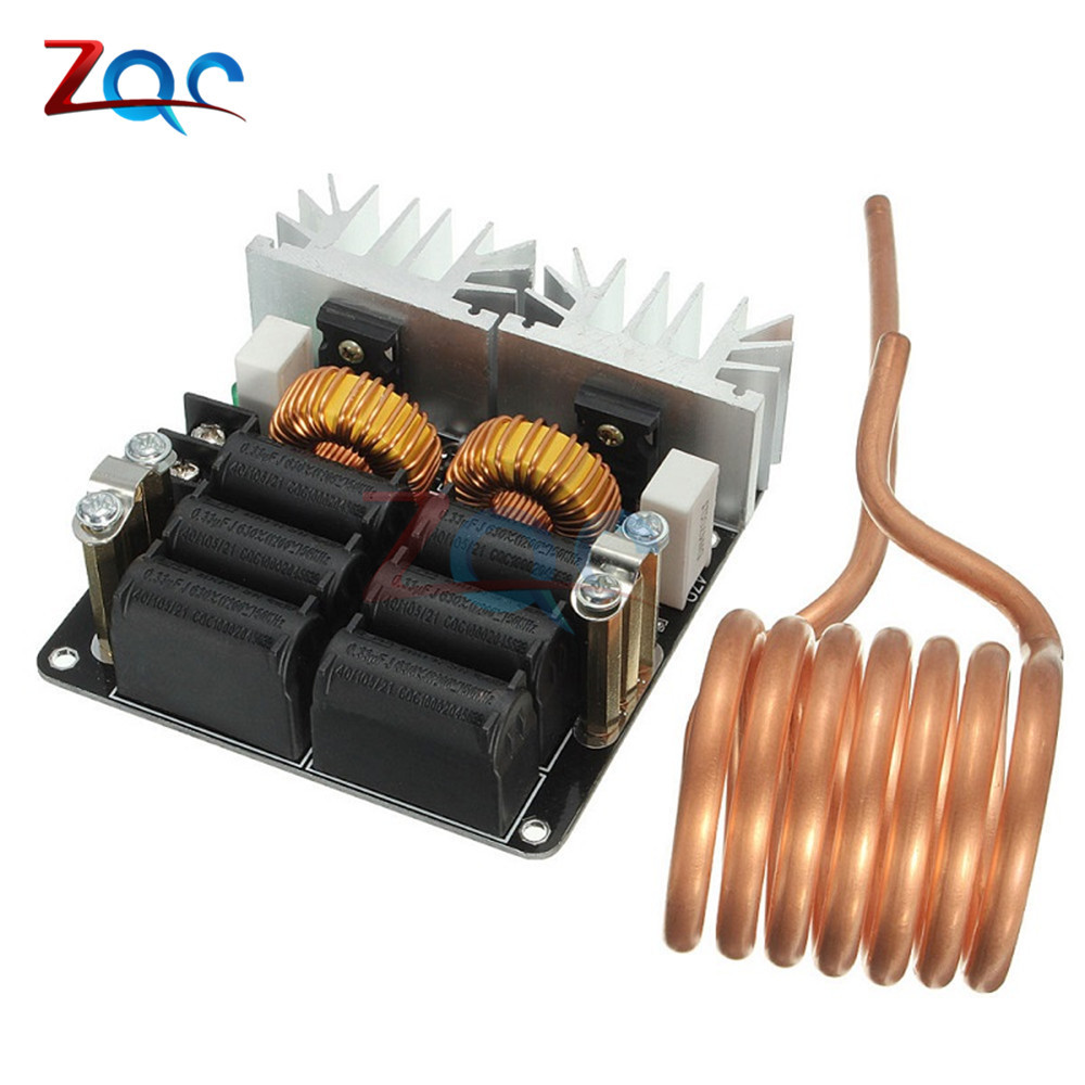 MAX 20A 1000W 12V-48V ZVS Low Zero Voltage Induction Heating Board Module Flyback Driver Heater High Power dc12 36v 20a 1000w zvs induction heating module heater with cooling fan copper tube