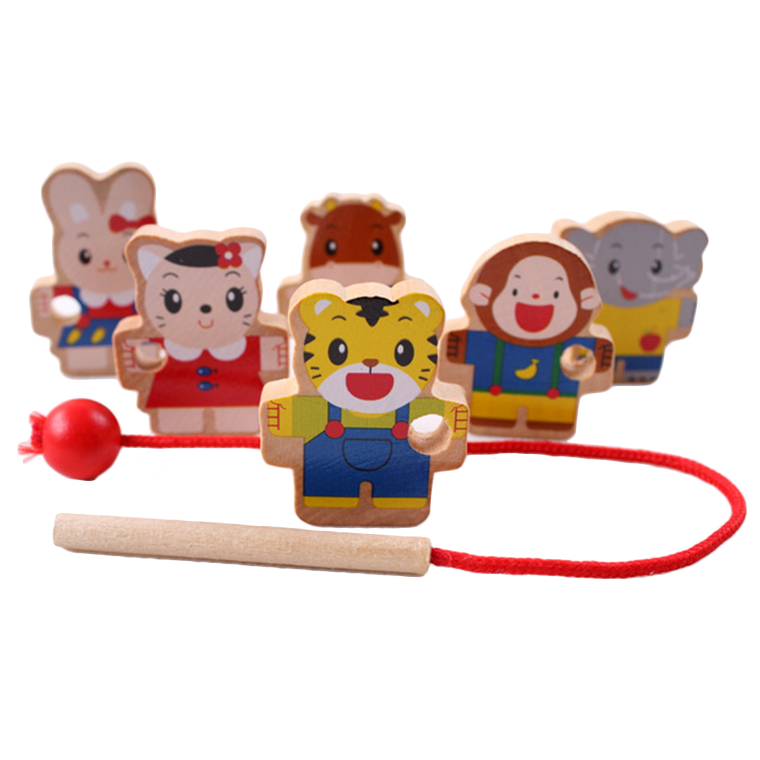 New Wooden Toys Baby Diy Toy Cartoon Animal Stringing Threading Wooden Beads Toy Monterssori Educational For Baby Kids Children