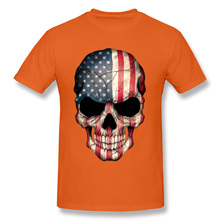 2018 Newest Adult Orange T Shirt 100% Cotton Fabric Plus Size Europe Tshirt For Men American Flag Skull Full Print 3D