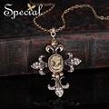 Special nueva chapado en oro de la vendimia collares y colgantes cruz piedras europea collar de la joyería de lujo regalos para las mujeres xl0020