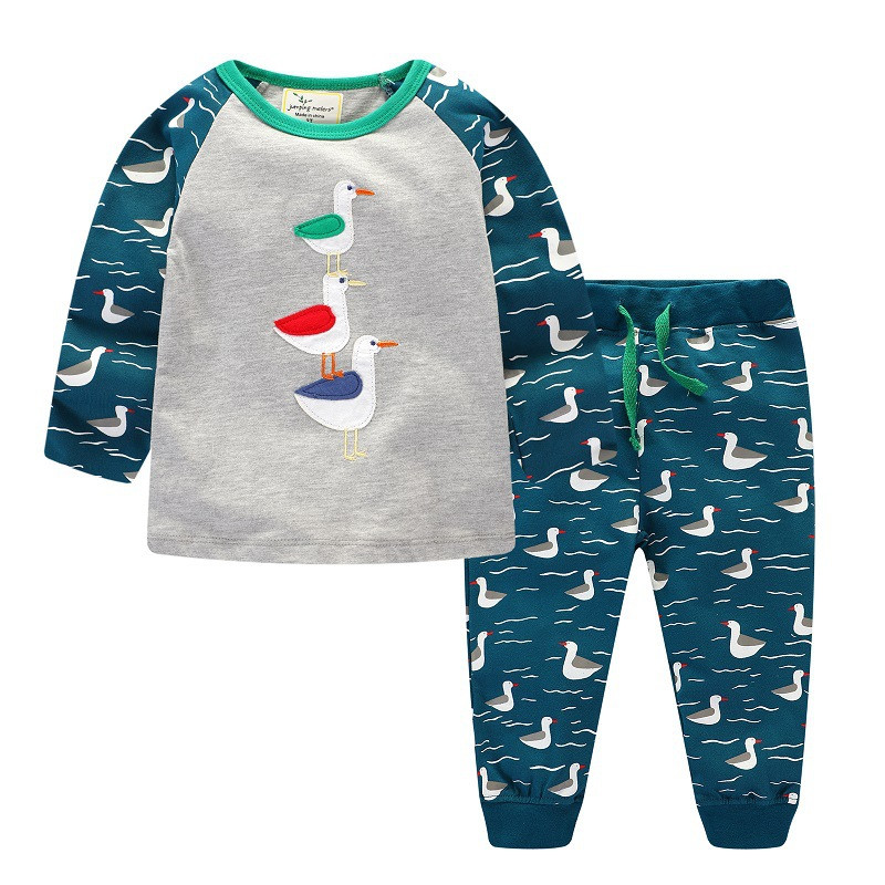Kid Children Clothing Sets Boys Clothes Kids Back to School Outfit Baby Boy Clothing Tracksuit with Animals Applique 2-7T suits baby boys clothes plus velvet children spiderman tracksuit boy clothing sets kids sports sweatshirts set hoody pants 2pcs suits