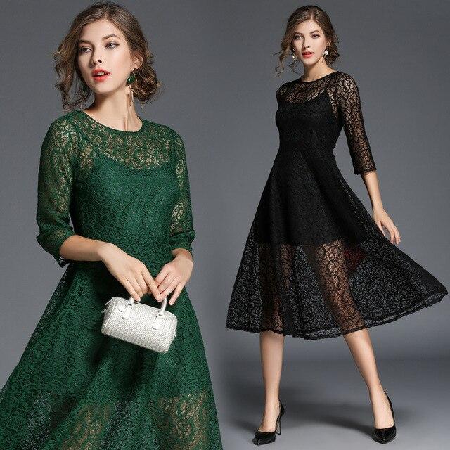 2fb7d48b6ee Tendance 2017 robe en dentelle noire automne robes de travail pour les  femmes bureau robes élégantes