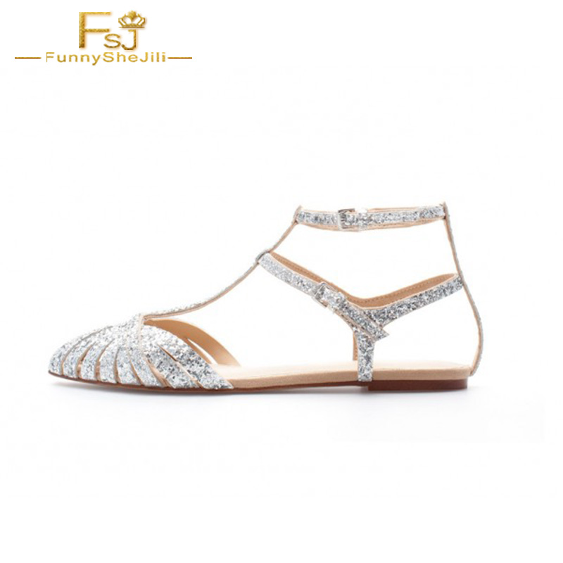 Silver Wedding Flats T Strap Glitter woman Sandals Shoes Bridesmaid Ankle Strap Sequined Cloth Buckle Strap Party Size 9 14 FSJ