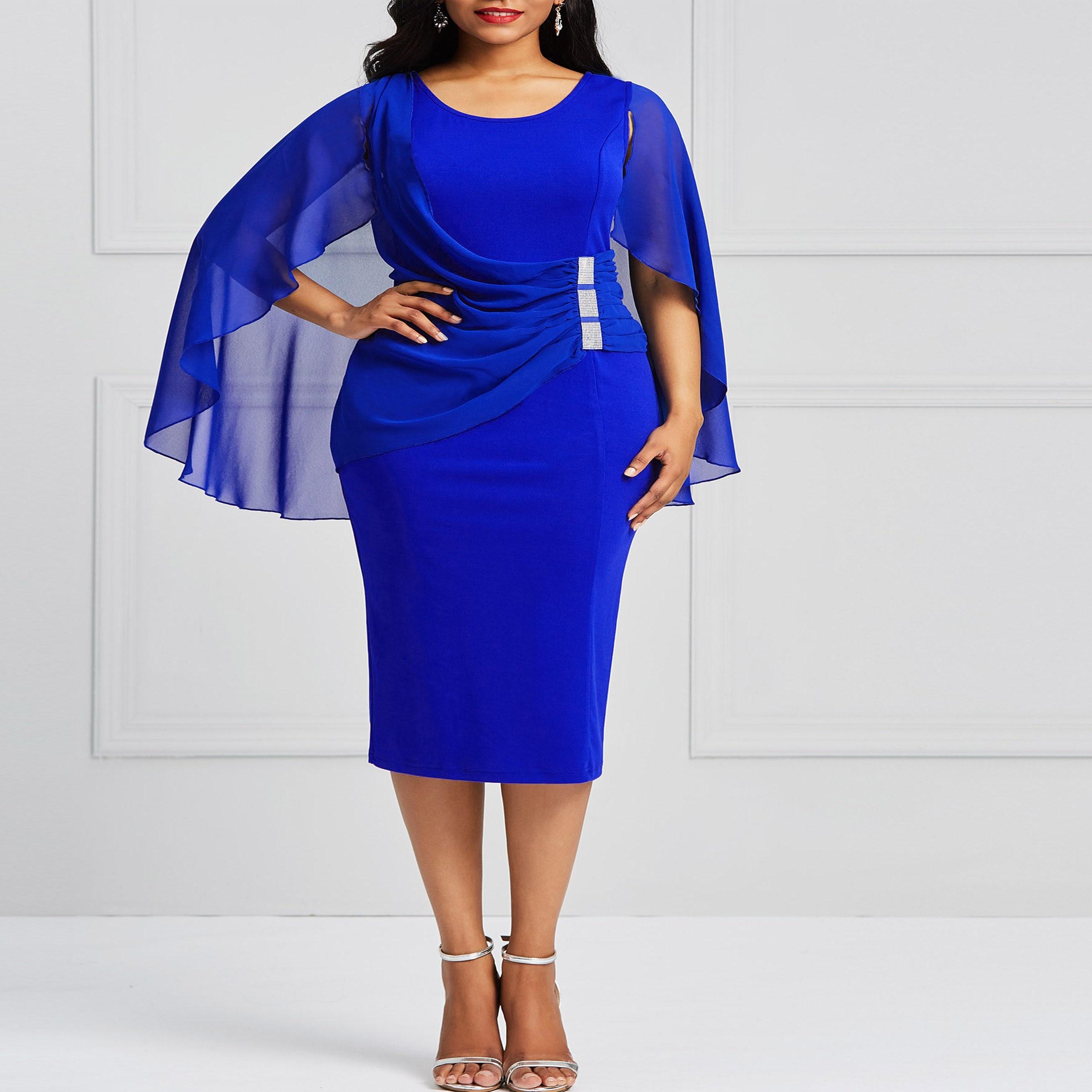 6952b35150 Plus size blue women dress autumn 2018 bodycon batwing sleeve pencil ...