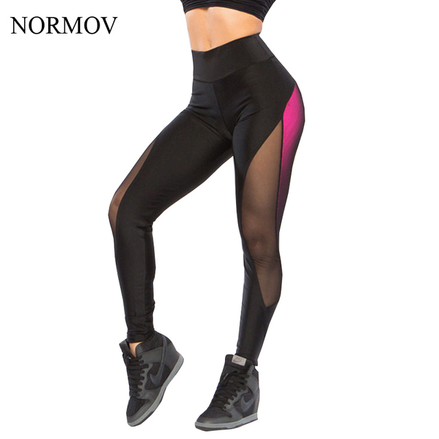 NORMOV XS-L Entrenamiento Malla Leggings Mujeres de Cintura Alta Push Up Leggins Jeggings Tiempo Aventura Legging Negro Sexy Super Suave