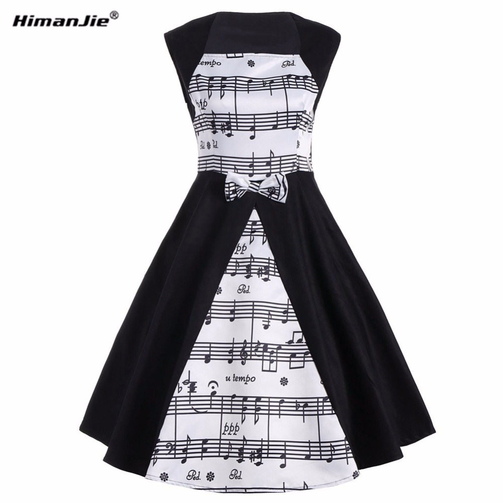 Himanjie Musical Note Print Women Vintage Retro swing patchwork Dress White black Female Casual Music Swing Dresses 50s 60s