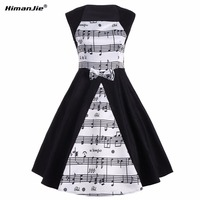 Himanjie Musical Note Print Women Vintage Retro Swing Patchwork Dress White Black Female Casual Music Swing
