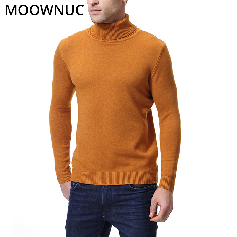 Turtleneck Sweaters Pullover Men Fashion Solid Smart Casual Male Sweaters Autumn Slim Bottoming Shirt Homme Modish MOOWNUC MWC