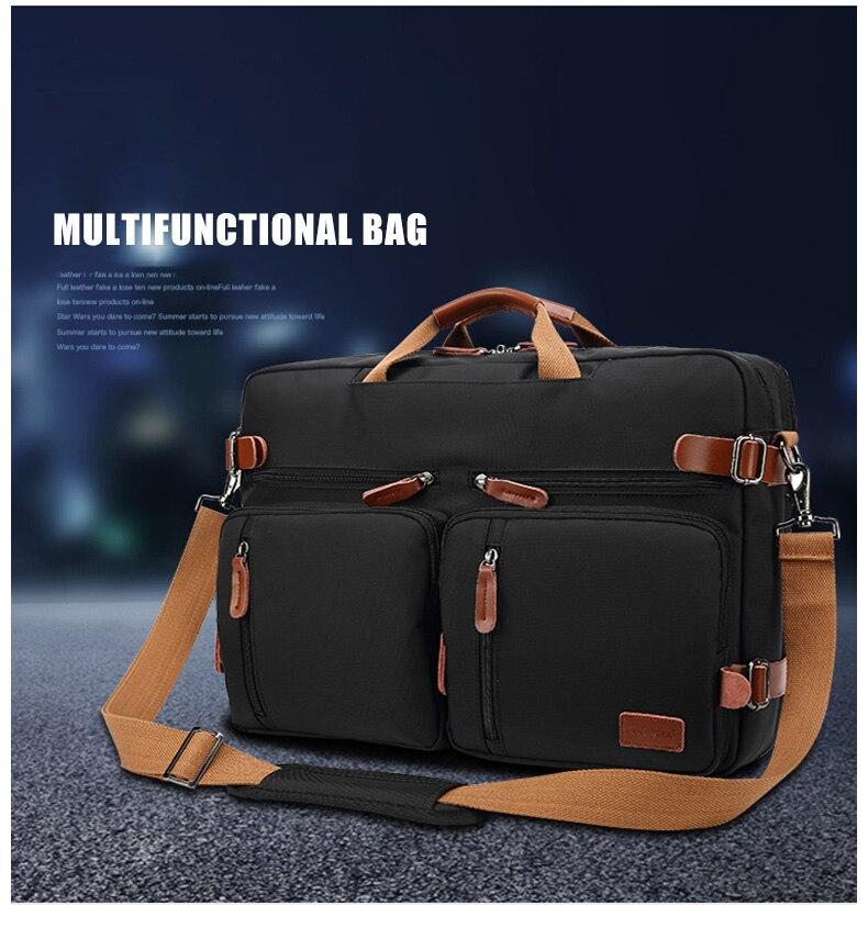 a black laptop bag with a brown shoulder strap