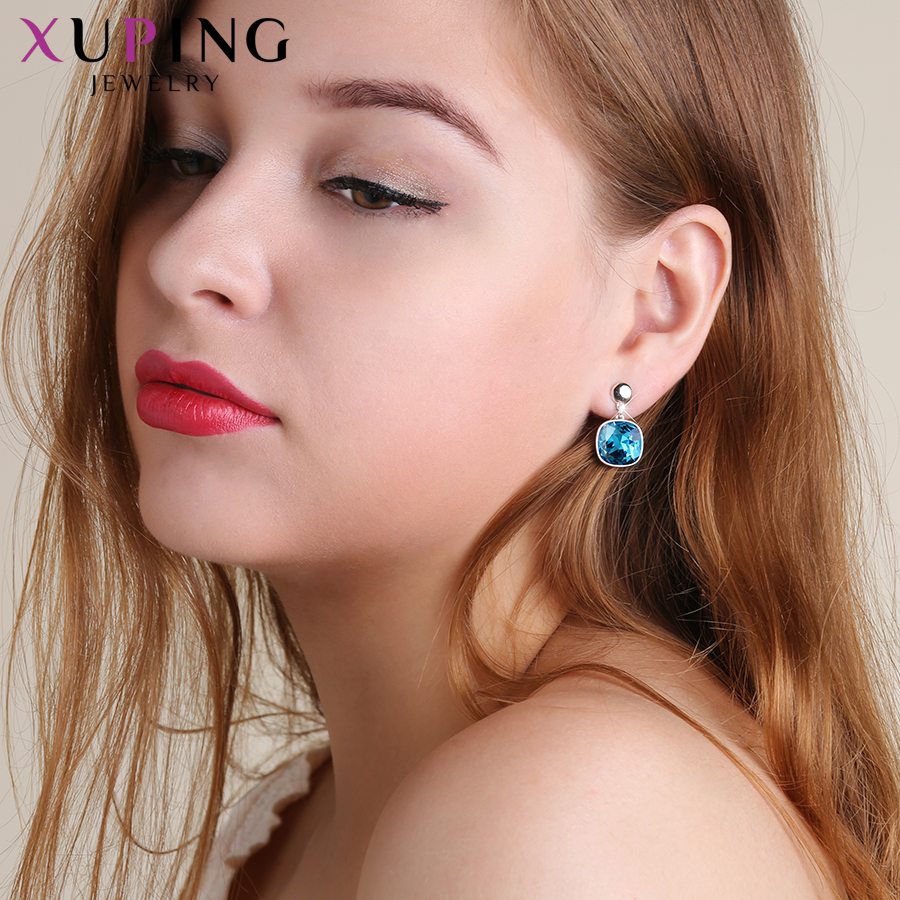 HTB1piF6XyDxK1RjSsD4q6z1DFXaR - Xuping Square Earrings Crystals from Swarovski Luxury Vintage Style Jewellery Women Girl  Valentine's Day Gifts M94-20493