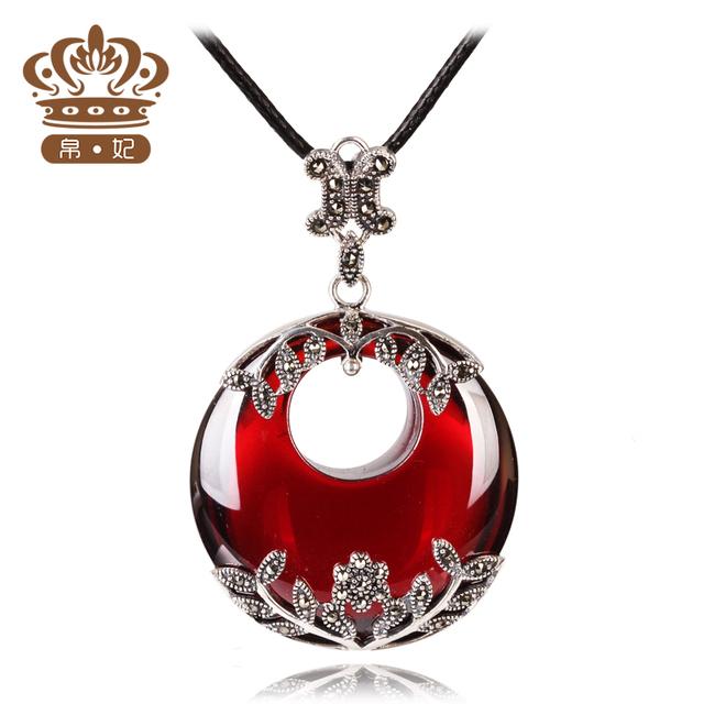 925 Sterling silver Semi-precious stones Garnet necklace retro red Pendant Women jewelry accessories girlfriend birthday gift