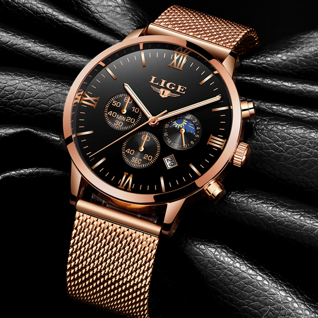 Top Luxury Business Gold Quartz Casual Mesh Steel Waterproof Sport Watch for men 2