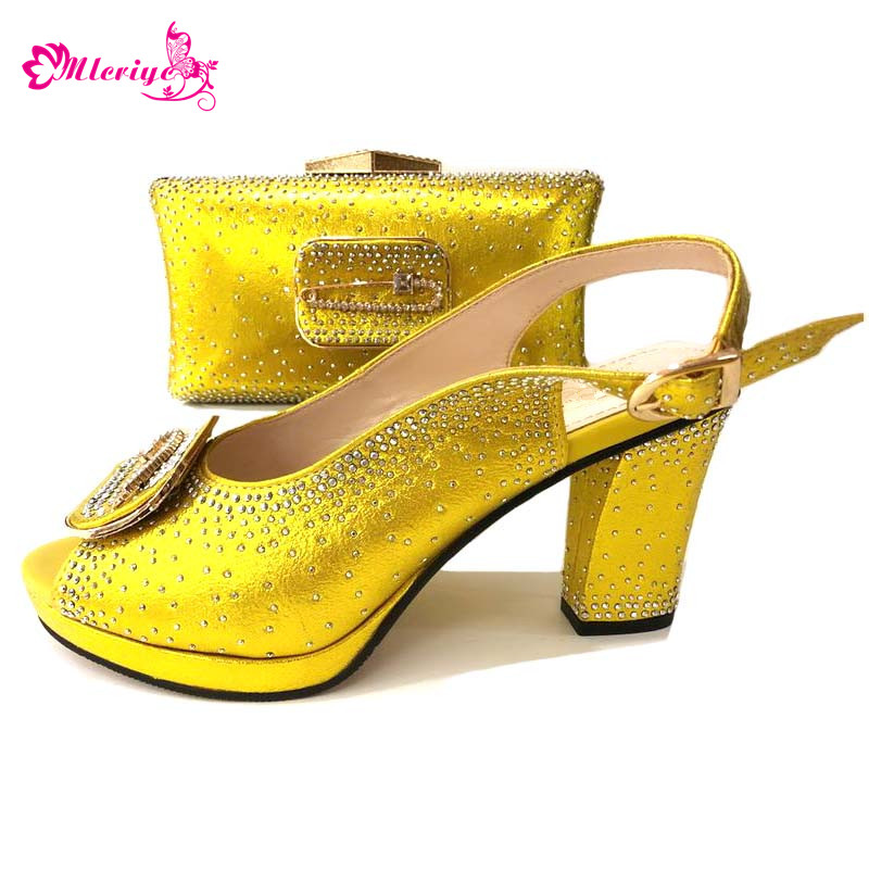 664-8 yellow Italian Shoes with Matching Bag for Woman Italian Shoes and Bag Set High Quality African Wedding Shoe and Bag