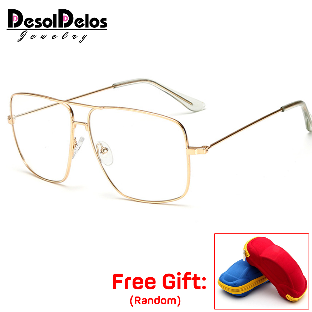 Eyewears Vintage Square Men's Eyeglasses Frames Luxury Designer Gold Color Clear Glasses Male Spectacle Frames 2019 Hot