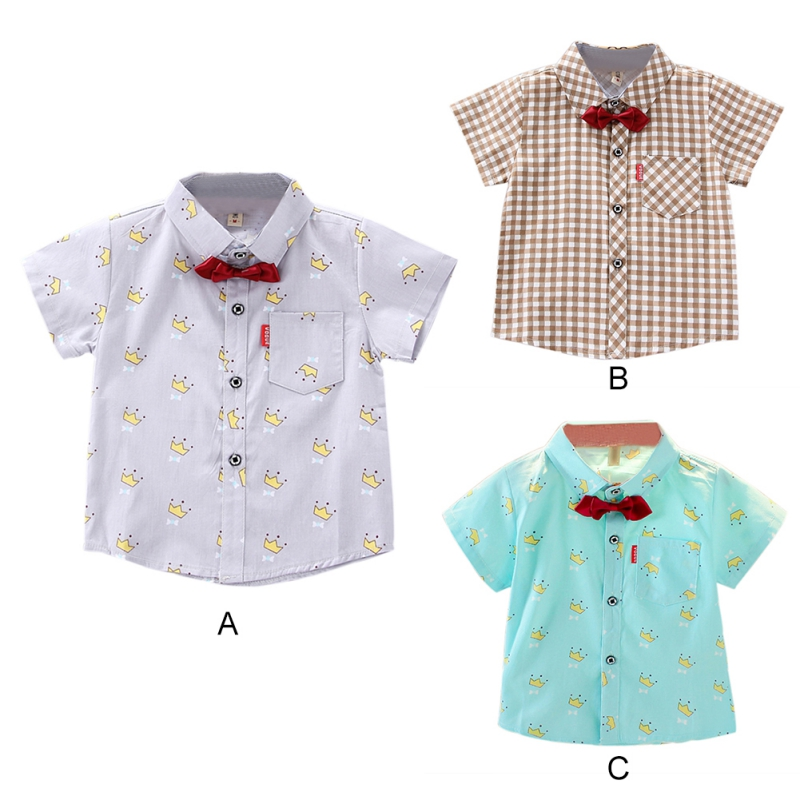 Children Boys Shirts 2019 Summer Kids Baby Shirt For Boy Short Sleeve Tops Child Printed Boys Clothes Toddler boy blouse