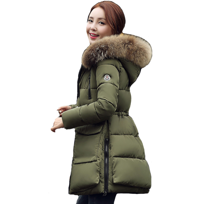 2018 Fur Collar Women Winter Jacket Warm Thicken Hooded Outwear For Womens Female Coat Park Long Parkas Cotton Padded casaco furlove new real large raccoon fur winter coat women jacket coats collar thicken warm padded cotton lady parkas female jacket