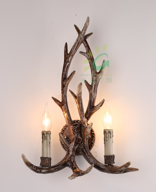 New Antlers Wall Light Candle Antler Buckhorn Wall Light American Retro  Resin Deer Horn Lamps Home