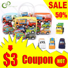 6pcs/Bag Pull Back Car Toys Car Children Kids Racing Car Mini Cars Cartoon Pull Back Bus Truck Toys For Children Boy Gifts WYQ(China)