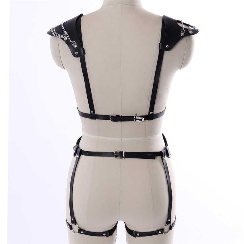 CƠ THỂ BONDAGE Pu Cấp Sĩ Quan Da Harness belt Đen Phụ Nữ Sexy Lingerie Harajuku Goth Club Đảng Vũ đồ lót Garter Set