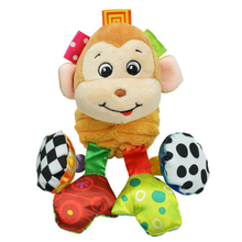 Early Education Hanging Toys with Squeaker and Teether Pram Soft Rattle Toy Stroller Plush Comfort Toy with sound
