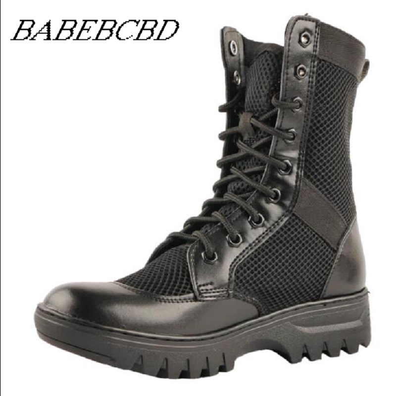 Summer bot military boots men botas hombre combat boots leather light outdoor high top mesh breathable combat tactical boots in|Hiking Shoes| |  - title=