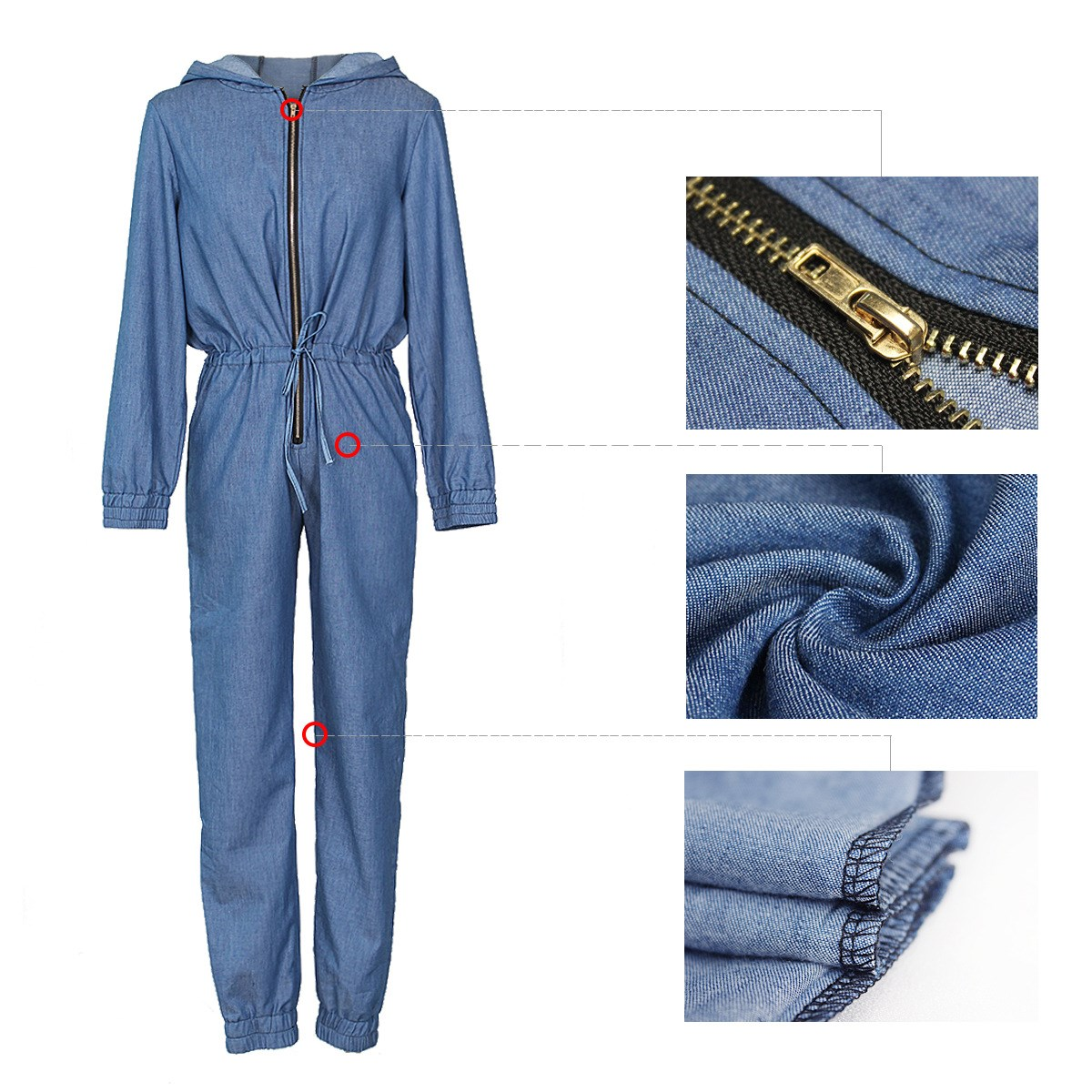 Women Jeans Jumpsuit Long Sleeve Casual Denim Rompers Lace Up Zipper Drawstring Hooded Denim Jumpsuits Overalls