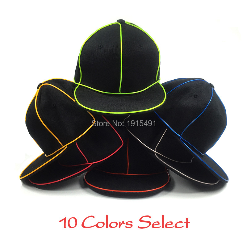High Grade Beat-Boy Favors EL Wire Cable Rope Glowing Cotton Hat Led Strip Neon Light Snapback Hip-Hop Cap for Fashion Show 4mm 7x19 grade 304 high tensile structure core stainless steel wire rope cable wick high quality wick diy