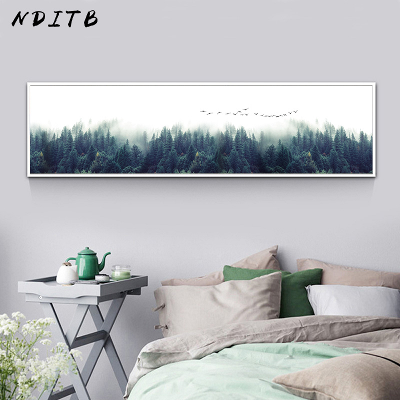 NDITB Foggy Forest Canvas Poster Landscape Art Print Long Banner Painting Nordic Decoration Nature Wall Picture For Living Room