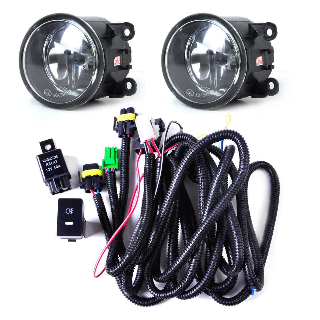 hight resolution of dwcx black wiring harness sockets switch 2 fog lights h11 lamp 12v 55w kit