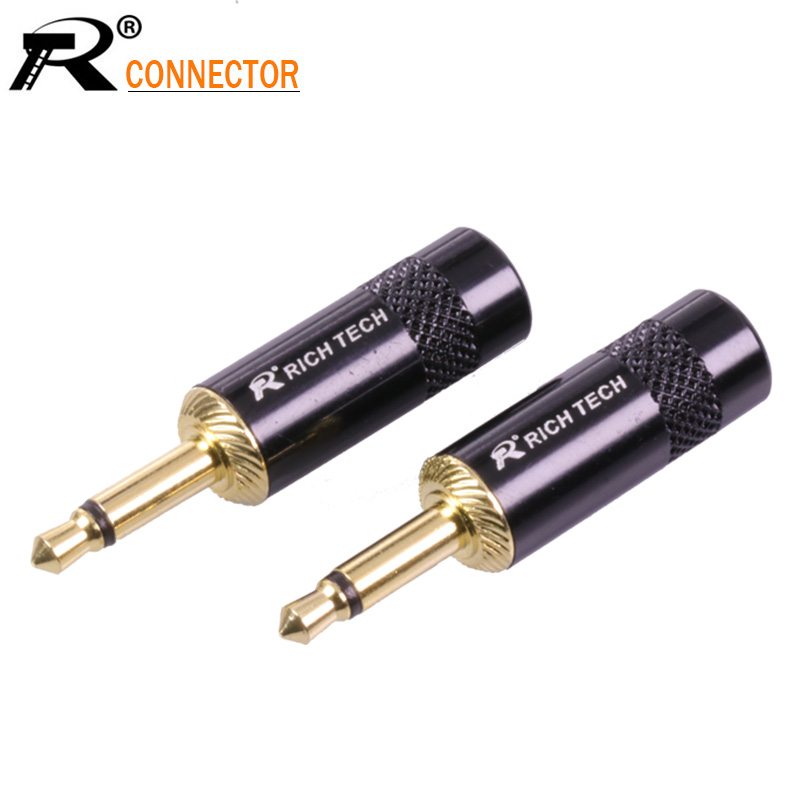 1pc Jack 3 5mm Wire Connector Mono Audio Plug 2pole Gold