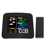 Wireless Weather Forecast Station 4 Digit Time ColorDisplay Thermometer Hygrometer Clock With Double Alarm Function
