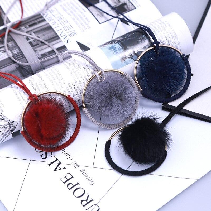 Fur Ball Pendant necklace Black & Red Rabbit Plush POM Necklace for women Long 2017