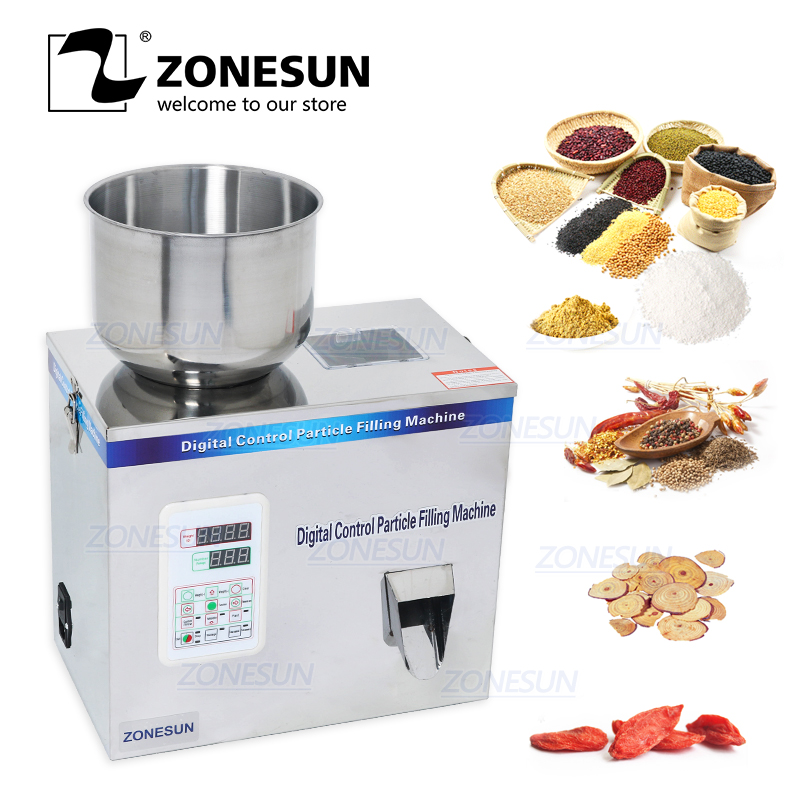 ZONESUN Tea filling machine New type 1-100g tea weighing machine grain medicine seed salt Racking packing machine powder filler applicatori di etichette manuali