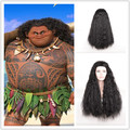 New Movie Moana Wig Synthetic Long Black Curly Synthetic Hair Halloween Cheap Cosplay Wig for Black Women+a wig cap