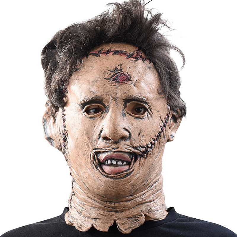 The Texas Chainsaw Massacre Leatherface Masks Scary Movie Cosplay Halloween Costume Props High Quality Toys Party Latex mask (4)