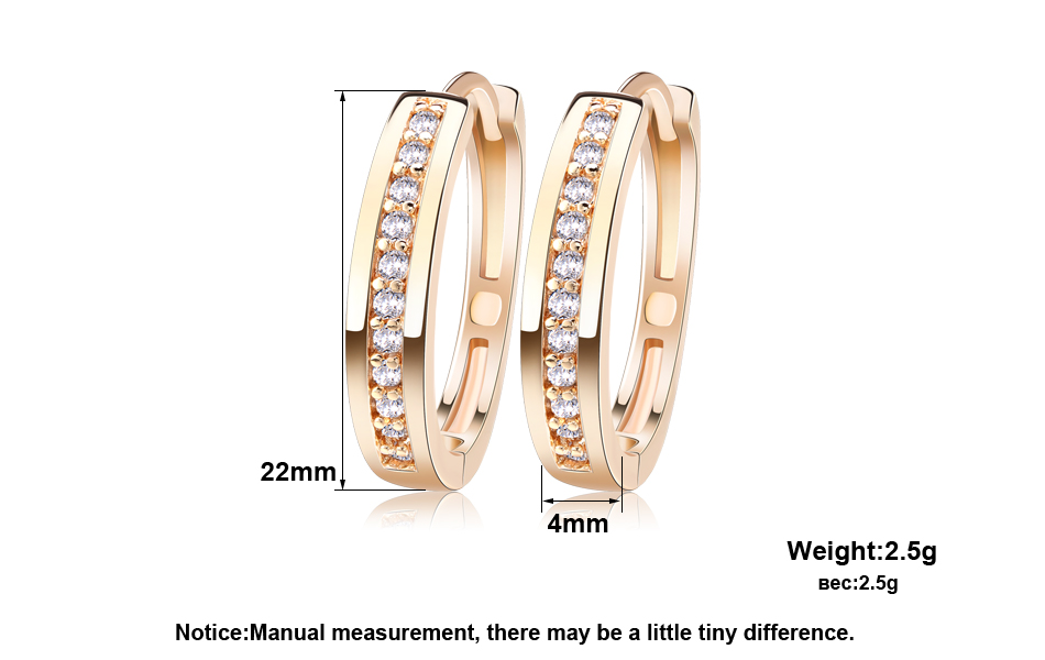 Effie Queen Cute Romantic Style Earrings Jewelry Gold -color Paved with AAA Cubic Zircon Stud Earrings for Women DDE34 5