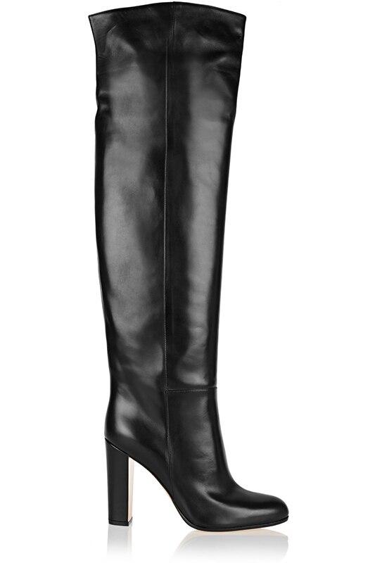US $90.07 9% OFF|Büro Damen Populäre Schwarze Leder Kniehohe Stiefel Starke Absatz Kleid Stiefel Luxuriöse Marke Lange Stiefel Nachtclub Bühne Boot in