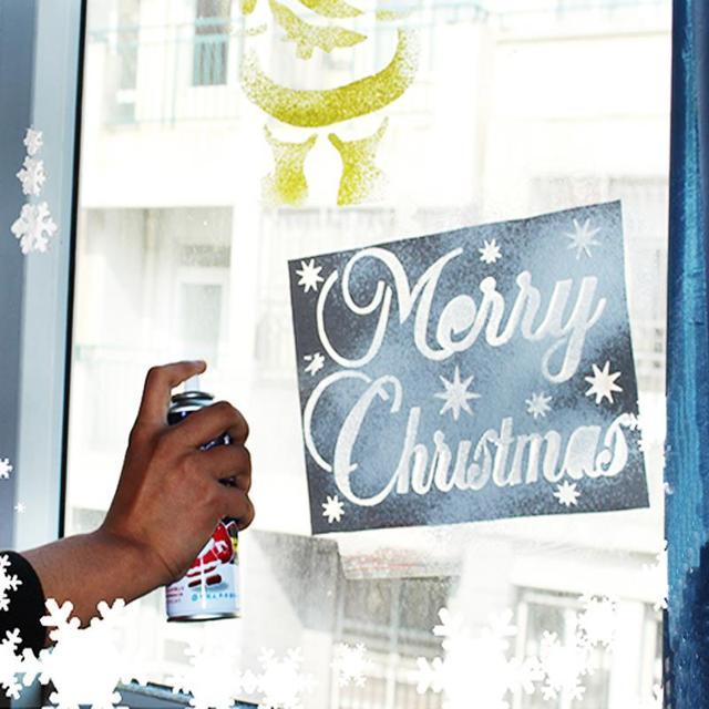 6Pcs/Set Christmas New Year Spray Pattern Santa Snowflake Window Christmas Ornaments Xmas Decoration decoracion navidad hogar