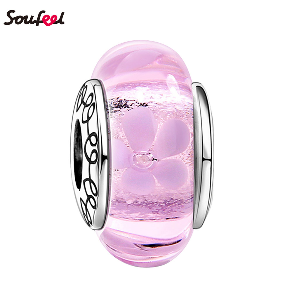 SOUFEEL Merry Christmas Pink Jasmine Murano Glass Bead 925 Silver Pink Flowers Charm for Girls Best Friends Gift