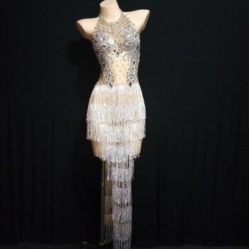 Silver Rhinestones White Tassel Mesh Dress Nightclub Dance Outfit Women Birthday Celebrate Outfit Big Crystals Dress