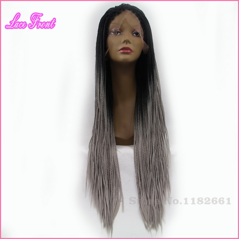 1 Piece 26inch Heat Resistant Synthetic Lace Front Wig Ombre Black Roots Grey Long Micro Braided Wigs For African American Women