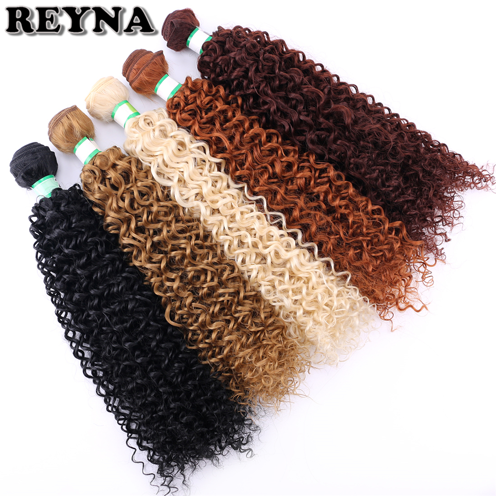 Hair-Bundles Synthetic-Hair-Extensions Afro Kinky Curly One-Pcs/Pack Double-Weft Black-Color