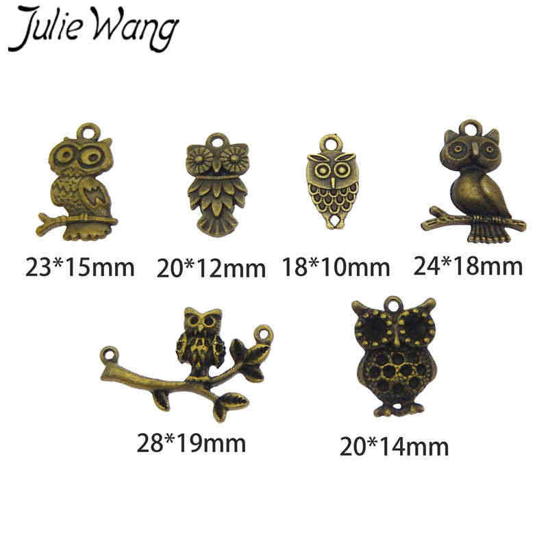 Julie Wang Antique Silver/Bronze Mixed Owl Birds Animal Alloy Charm Necklace Pendant Bracelet Jewelry Making Charms Accessory