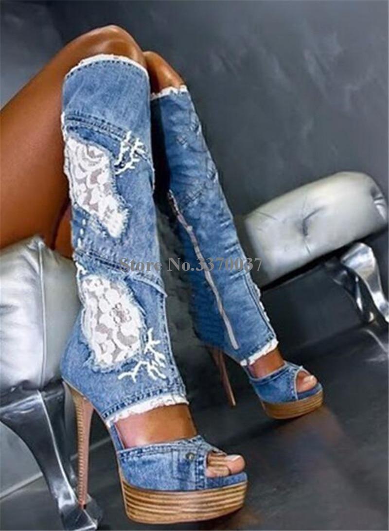 Women Sexy Fashion Peep Toe Blue Denim Wedge Platform Gladiator Boots Cut-out Mesh Lace Long Super High Heel Boots Dress Shoes
