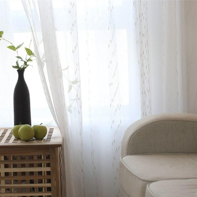 Cortinas de tules transparentes de hilo blanco bordado para comedor ...