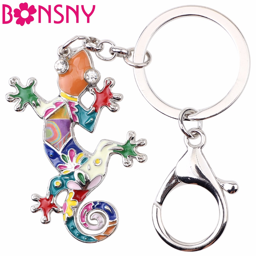 Bonsny эмаль ящерица брелок для Для женщин сумка Подвеска Gecko брелок для ключей Ключи держатель Новинка 2017 года Шарм ювелирных изделий Bijoux