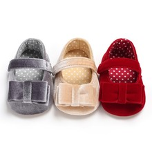 Newborn Baby Girl Toddler Shoes The First Walker Velvet Bow Sweet Princess Soft Socks Non-slip Fashion Spring Summer Kids Shoes