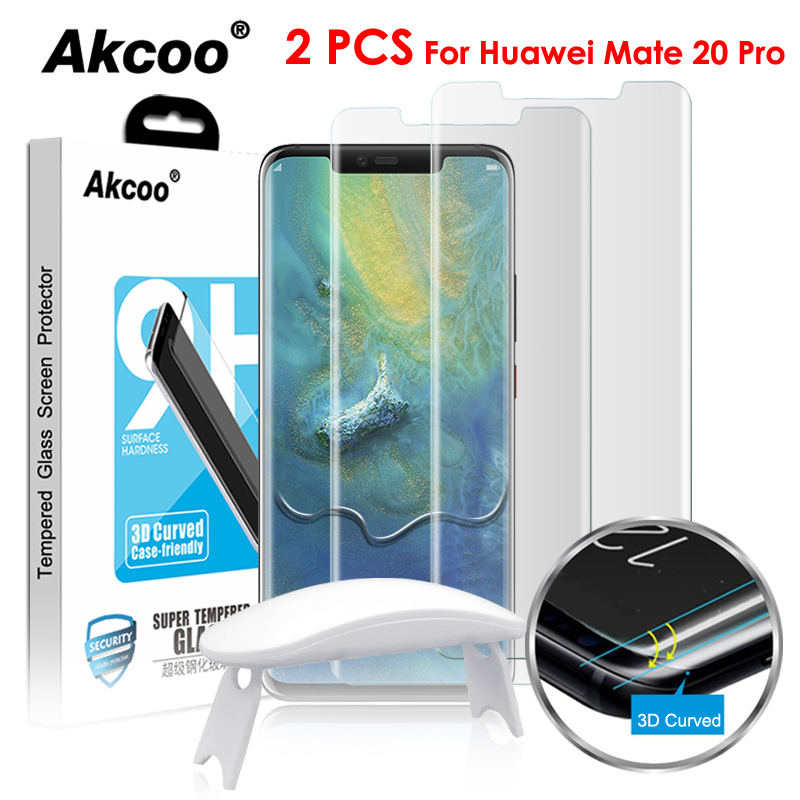 Akcoo 2 Pieces full cover tempered glass screen protector for huawei mate 20 pro UV liquid full glue screen cover for mate  proAkcoo 2 Pieces full cover tempered glass screen protector for huawei mate 20 pro UV liquid full glue screen cover for mate  pro