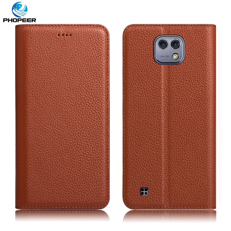Original PHOPEER Luxury Vintage Genuine Leather Case For LG X Cam Book Style Filp Cover Case For LG X Cam 5.2 inch