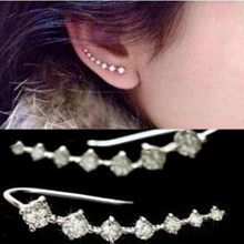 Fashion CZ crystal Jewelry Stud Earrings For women men crystal Jewelry accessione Ear Hook free shipping(China)